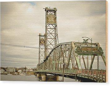 Memorial Bridge Portsmouth Nh Wood Print by Debbra Obertanec