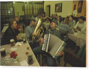 Men Sing Satirical Songs Of Austrias Wood Print by James L. Stanfield
