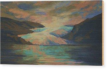 Mendenhall Glacier Wood Print by Peggy Wrobleski