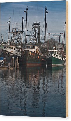 Menemsha Village Fishing Boats Wood Print by Peggie Strachan