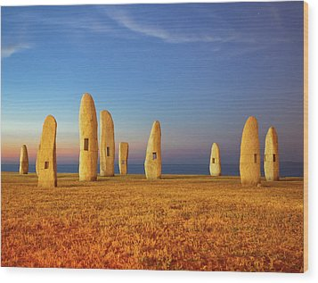 Menhirs Wood Print by Diego Velo