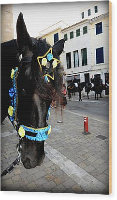 Wood Print featuring the photograph Menorca Horse 1 by Pedro Cardona