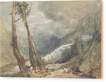 Mere De Glace - In The Valley Of Chamouni Wood Print by Joseph Mallord William Turner
