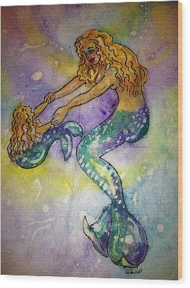 Mermaid And Child Wood Print by Gloria Avner
