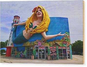 Mermaid Building Wood Print by Garry Gay