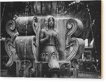 Mermaid Fountain Wood Print by Tom Bell