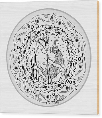 Mermaid In Black And White Round Circle With Water Fish Tail Face Hands  Wood Print by Rachel Hershkovitz