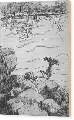 Wood Print featuring the painting Mermaid On The Rocks by Gretchen Allen
