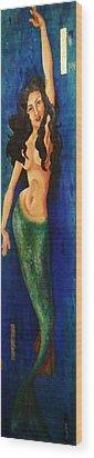 Mermaid Reach Wood Print by Abraham Gonzales