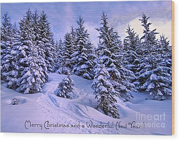 Merry Christmas And A Wonderful New Year Wood Print by Sabine Jacobs