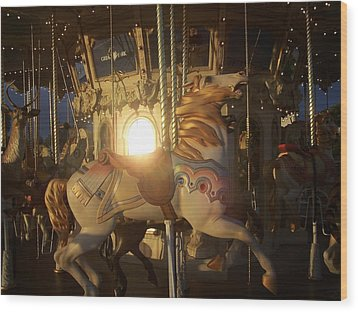 Merry Go Round At Sunset Wood Print by Steve Huang