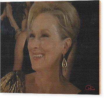 Meryl Streep Portrait  Wood Print