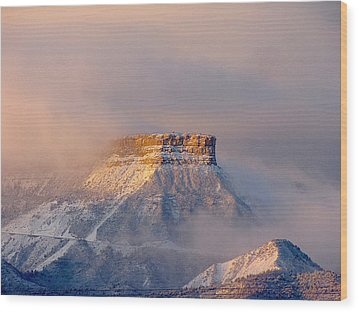 Mesa Verde Adorned With Clouds Wood Print by FeVa  Fotos