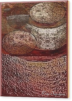 Wood Print featuring the mixed media Metal Art Rocks by Ray Tapajna