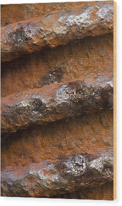 Wood Print featuring the photograph Metal Coil by Carrie Cranwill