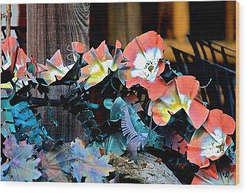 Metallic Poppies Wood Print by Karon Melillo DeVega