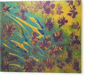 Metallic Waterlilies Wood Print by Sharon  De Vore