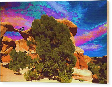 Wood Print featuring the photograph Metate Arch Dream by Gregory Scott