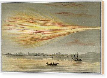 Meteorite Explosion, Historical Artwork Wood Print by Detlev Van Ravenswaay