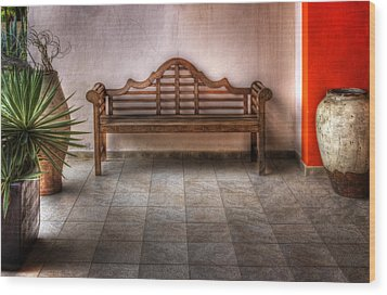 Mexican Patio Wood Print