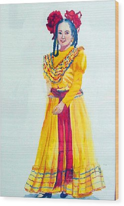 Mexico Srta In Yellow Wood Print by Estela Robles