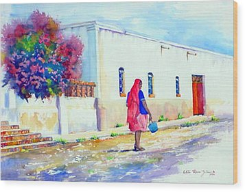 Mexico Woman With Blue Bucket Wood Print by Estela Robles