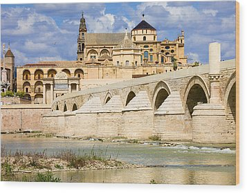 Mezquita Cathedral And Roman Bridge In Cordoba Wood Print by Artur Bogacki