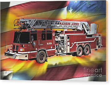 Mfd Ladder Co 1 Wood Print by Tommy Anderson