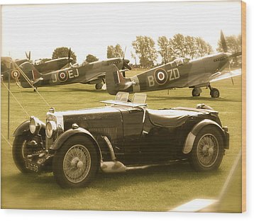 Mg And Spitfires Wood Print by John Colley