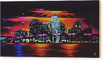 Miami By Black Light Wood Print by Thomas Kolendra