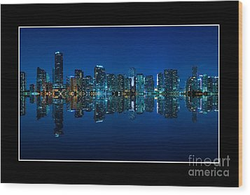 Miami Skyline Night Panorama Wood Print by Carsten Reisinger