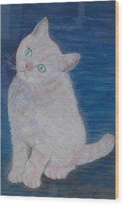Miaow Wood Print by Noreen Hegarty