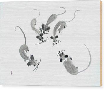Mice - Sumie Style Wood Print by Yoshiko Mishina