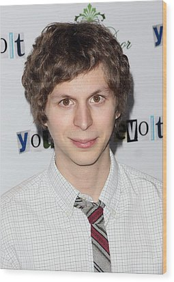 Michael Cera At Arrivals For Youth In Wood Print by Everett