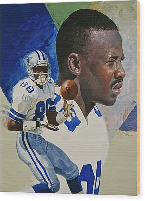 Wood Print featuring the painting Michael Irvin by Cliff Spohn
