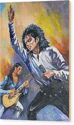 Wood Print featuring the painting Michael Jacksn In Concert by Al Brown