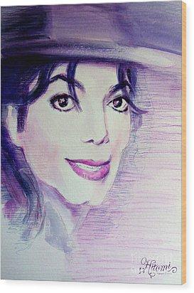 Michael Jackson - Purple Fedora Wood Print by Hitomi Osanai