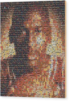 Michael Jordan Card Mosaic 1 Wood Print by Paul Van Scott
