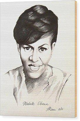 Michelle Obama Wood Print by A Karron