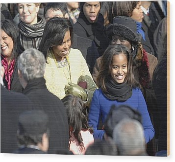 Michelle Obama And Daughters Malia Wood Print by Everett