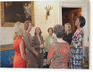 Michelle Obama And Jill Biden Wood Print by Everett