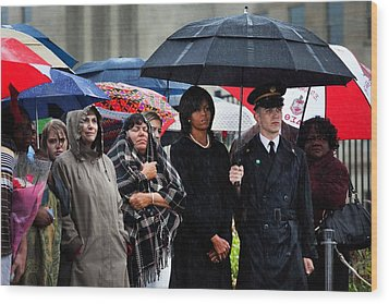 Michelle Obama Attends A Wreath Laying Wood Print by Everett