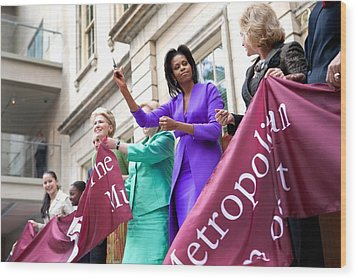 Michelle Obama Cuts The Ribbon Wood Print by Everett