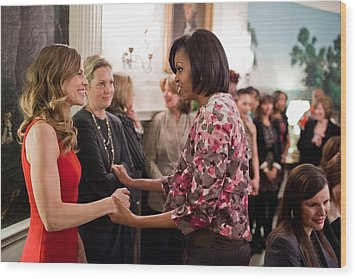 Michelle Obama Greets Actress Hilary Wood Print by Everett