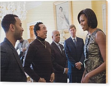 Michelle Obama Greets John Legend Wood Print by Everett