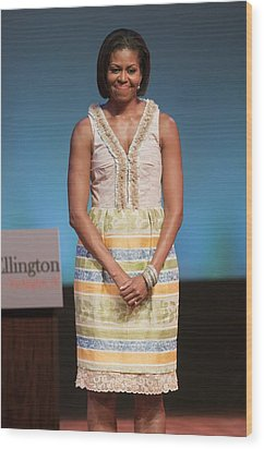 Michelle Obama In Attendance For Lady Wood Print by Everett