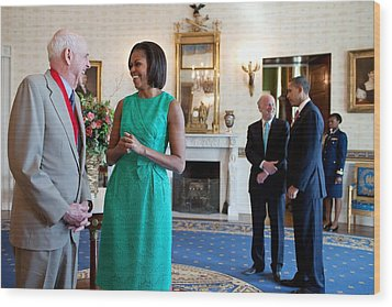 Michelle Obama Laughs With National Wood Print by Everett