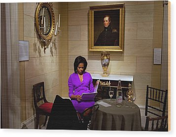 Michelle Obama Prepares Before Speaking Wood Print by Everett