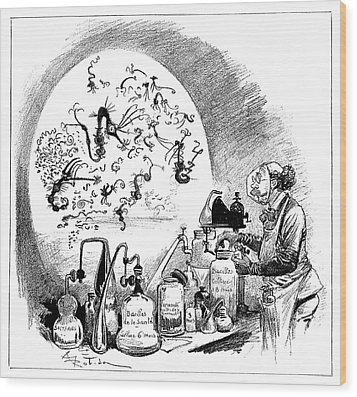 Microbiology Caricature, 19th Century Wood Print by