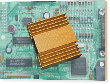 Microchip Processor Heat Sink Wood Print by Sheila Terry